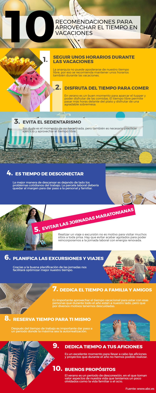 10 recomendaciones para aprovechar el tiempo estas vacaciones